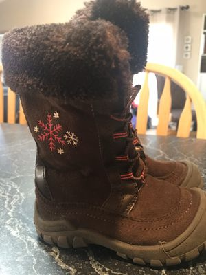 Oshkosh Toddler Boots Girls 6M Brown Textile Faux Fur Pull Up Boot for Sale in Vancouver, WA
