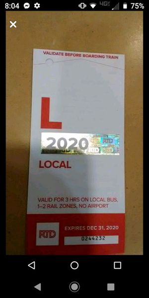 RTD local ticket book for Sale in Denver, CO