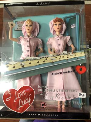 I Love Lucy Lucy Ricardo & Ethel Mertz Job Switching Episode 39 Pink Label Barbie Collector Mattel for Sale in La Habra, CA