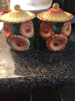 Ceramic sunflower canister for Sale in Boston, MA