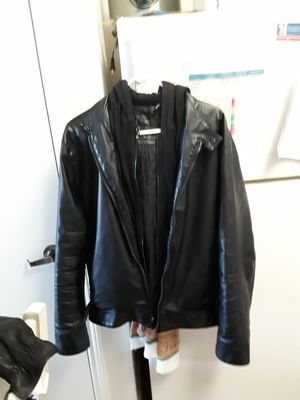 Calvin klein Mens Large Leather Jacket w removable fleece hoodie for Sale in Englewood, CO