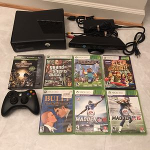 Xbox 360 slim system console with 7 video games controller cables kinect works great minecraft grand theft auto madden bully mortal kombat lot for Sale in Burtonsville, MD