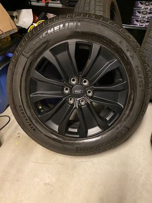 """Like new Black Matte 20"""" Ford F-150 rims and tires for Sale in Scottsdale, AZ"""