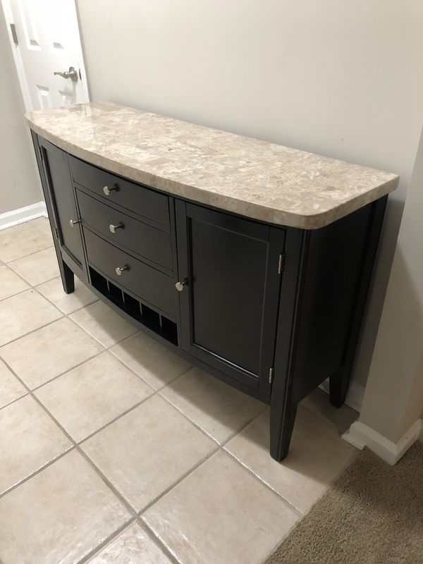 MACY'S Tempo Travertine Collection Credenza Serving/Buffet Console Table Cabinet