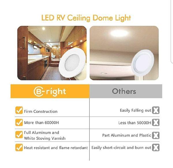 B-right RV LED Lights Interior, RV Ceiling Light, 12V LED Dome Light Dimmable, Under Cabinet Lighting