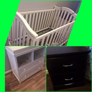 Baby crib, dresser with changing table and night table for Sale in Washington, DC