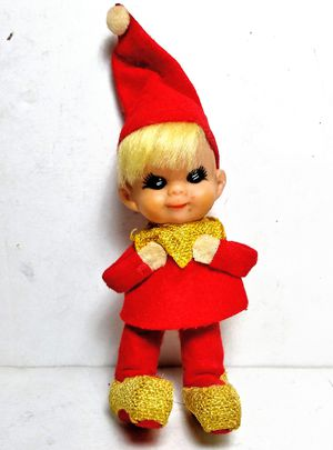 Napco Red & Gold Cloth ELF Figure Christmas Ornament Japan Original Sticker VTG for Sale in Garland, TX