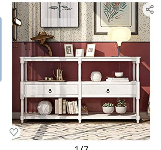 Tenozek Retro Style Console Table Sofa Table with 3-Tier Open Storage Shelf and Two Drawers Rustic Entryway Table for Living Room, Hallway, Dining Roo