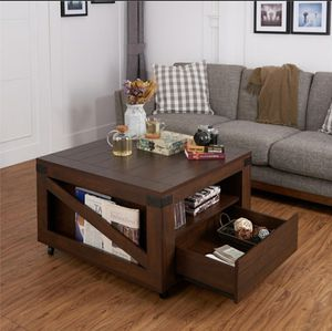 Modern Wood Square Coffee Table in Walnut Finish for Sale in Chino, CA
