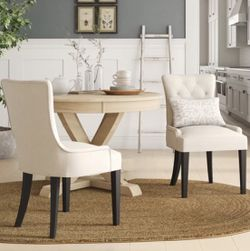 Two (2) White Chairs With Black Legs for Sale in Bellevue,  WA