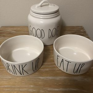 Rae Dunn Dog Bowls And Canister for Sale in Snohomish, WA