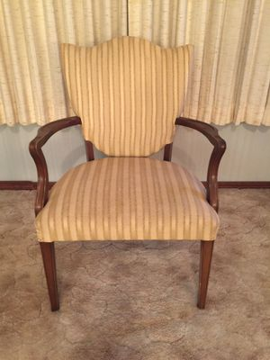 Vintage wood and striped cream colored fabric armchair for Sale in Pontotoc, OK