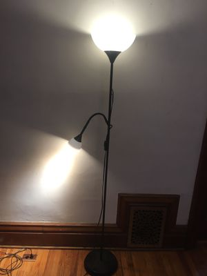77 in. Black Torchiere Floor Lamp with Reading Light for Sale in Denver, CO