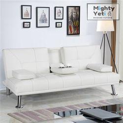Bright White Leather Futon (FREE DELIVERY) for Sale in Chicago,  IL