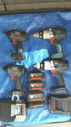 $300. Bosch Tools. Excellent Condition. Two sets of Bosch Combo kit. Two Hammer Drills. Two impacts. Four Lithium-Ion Batteries. Two Chargers. for Sale in Evergreen, CO