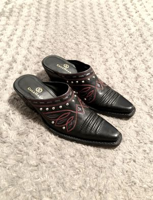 Women's Cole Haan Mule boot paid $125 Size 5.5 Excellent condition! Black & red western boot mule. Silver studs. #D18358. Made in Brazil. for Sale in Washington, DC