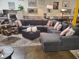 Fabric Sectional Sofa with Ottoman, Dark Grey for Sale in Westminster, CA