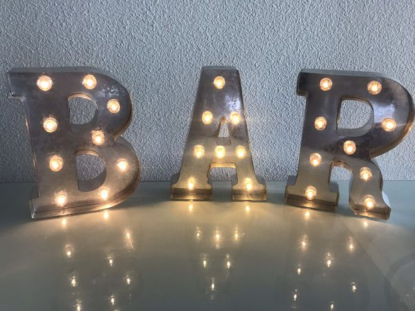 Silver BAR Metal Marquee Letters