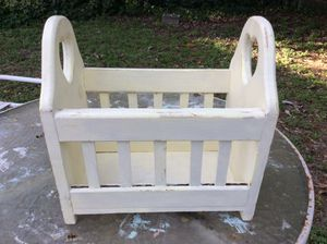 Vintage Farmhouse Kids Yellow Wooden Book Or Toy Rack for Sale in Tampa, FL
