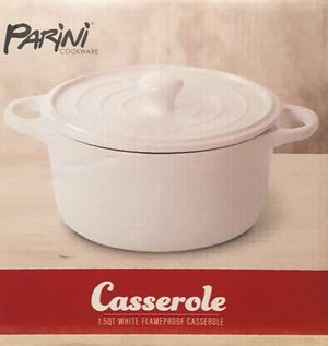 New! Parini Cookware 1.5 Qt White Flameproof Casserole Dish for Sale in Moreno Valley, CA