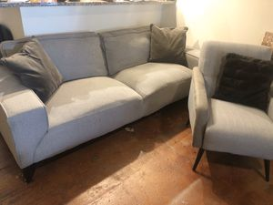 Grey Couch and Chair Set (pillows not included) for Sale in Richmond, VA