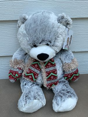 Hugfun International Gray Teddy Bear Plush With Scarf and Mittens Stuffed Toy for Sale in Dallas, GA