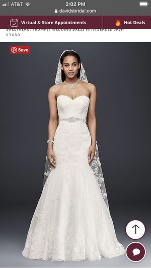 David's bridal sweetheart trumpet wedding dress with beaded sash size 14 for Sale in Brookfield, IL