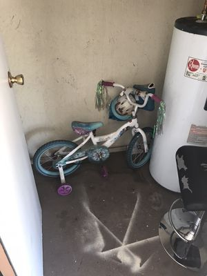 Girls frozen bicycle, reptile tank, adjustable barstool and king size bed frame for Sale in Las Vegas, NV