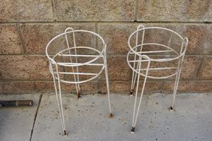 2 Vintage Mid Century Cast Iron Plant Flower Pot Stands for Sale in Chino Hills, CA