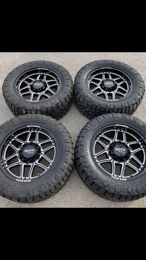 """New 20"""" Motometal Rims and Nitto Tires 8 Lug Wheels Chevy Silverado 2500HD Gm 2019 Rines y llantas 2017 GMC 2016 Sierra 2015 Chevrolet 2014 Silverado for Sale in Dallas, TX"""