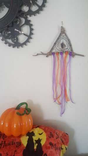 Handmade halloween witch hat inspired dreamcatcher protective black tourmalune crystal wall hanging for Sale in Ontario, CA