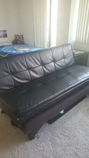Black Leather Futon for Sale in Arlington, VA