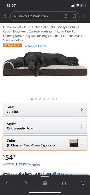 Furhaven Pet Dog Bed - Deluxe Orthopedic Two-Tone Plush and Suede L Shaped Chaise Lounge Living Room Corner Couch Pet Bed with Removable Cover for Do for Sale in Dallas, TX