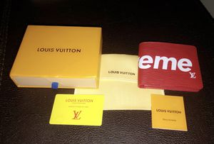 Louis Vuitton x Supreme Slender Wallet (Epi Red) for Sale in Braintree, MA
