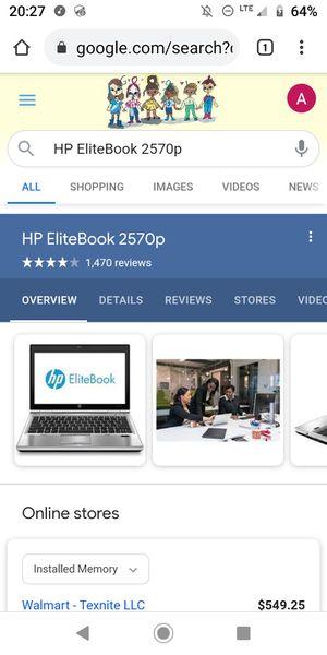 HP LAPTOP ELITEBOOK 2570P, 16GB RAM, INTEL I5 2.6/3.0GHZ 3RD GEN, SSD 250GB, USB 3.0, DVD, ORIGINAL BATTERY CHARGER, WINDOWS 10 GENUINE for Sale in Los Angeles, CA