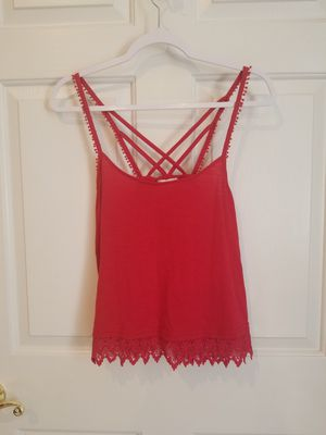 Coco + Jameson Tank Top Criss Cross Back Lace Fringe Red Size S for Sale in Lexington, SC
