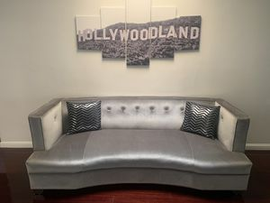 Modern Silver couch with matching Chair. for Sale in Baldwin Hills, CA