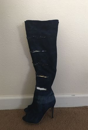 Mid-thigh high blue boots for Sale in Abilene, TX