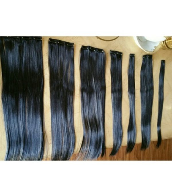 Black Silky Straight Full Head Clip in