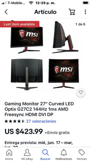 """Gaming Monitor 27"""" Curved LED Optix G27C2 144Hz 1ms AMD Freesync HDMI DVI DP for Sale in Concord, NC"""