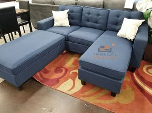 Brand New Navy Blue Linen Sectional Sofa Couch + Ottoman for Sale in Washington, DC
