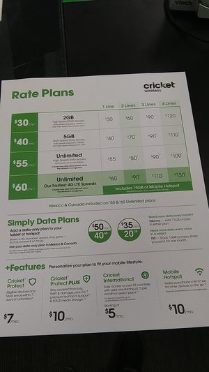 Cricket Wireless Rate plans for Sale in Prichard, AL