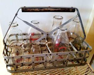 Antique/ Vintage Milk Crate with milk bottles for Sale in Ramona, CA