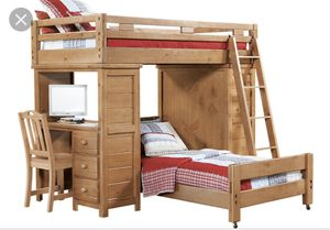 Wood Bunk Bed w Desk for Sale in Garland, TX