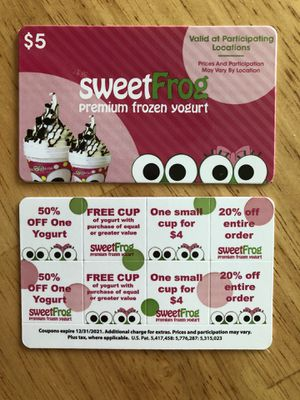 Sweetfrog Coupon Cards for Sale in Hedgesville, WV