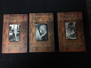 Ernest Hemingway paperback Collection of classic literature The complete Short Stories, A Farewell to Arms and For Whom The Bell Tolls for Sale in Houston, TX