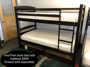 New solid Twin/Twin bunk bed with mattress for Sale in Fresno, CA