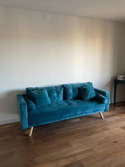 Blue Velvet Soft Sofa Couch for Sale in Quincy,  MA