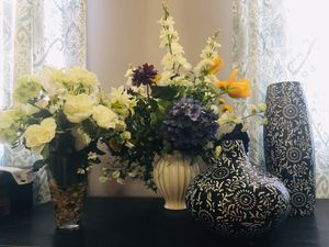 2 Artificial Flowers. 2 Vases. All for $75. Cash only for Sale in NO POTOMAC, MD