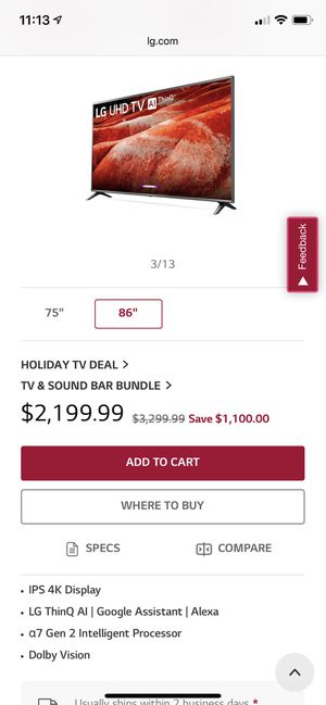 Tv lg 85 inches for Sale in Norcross, GA